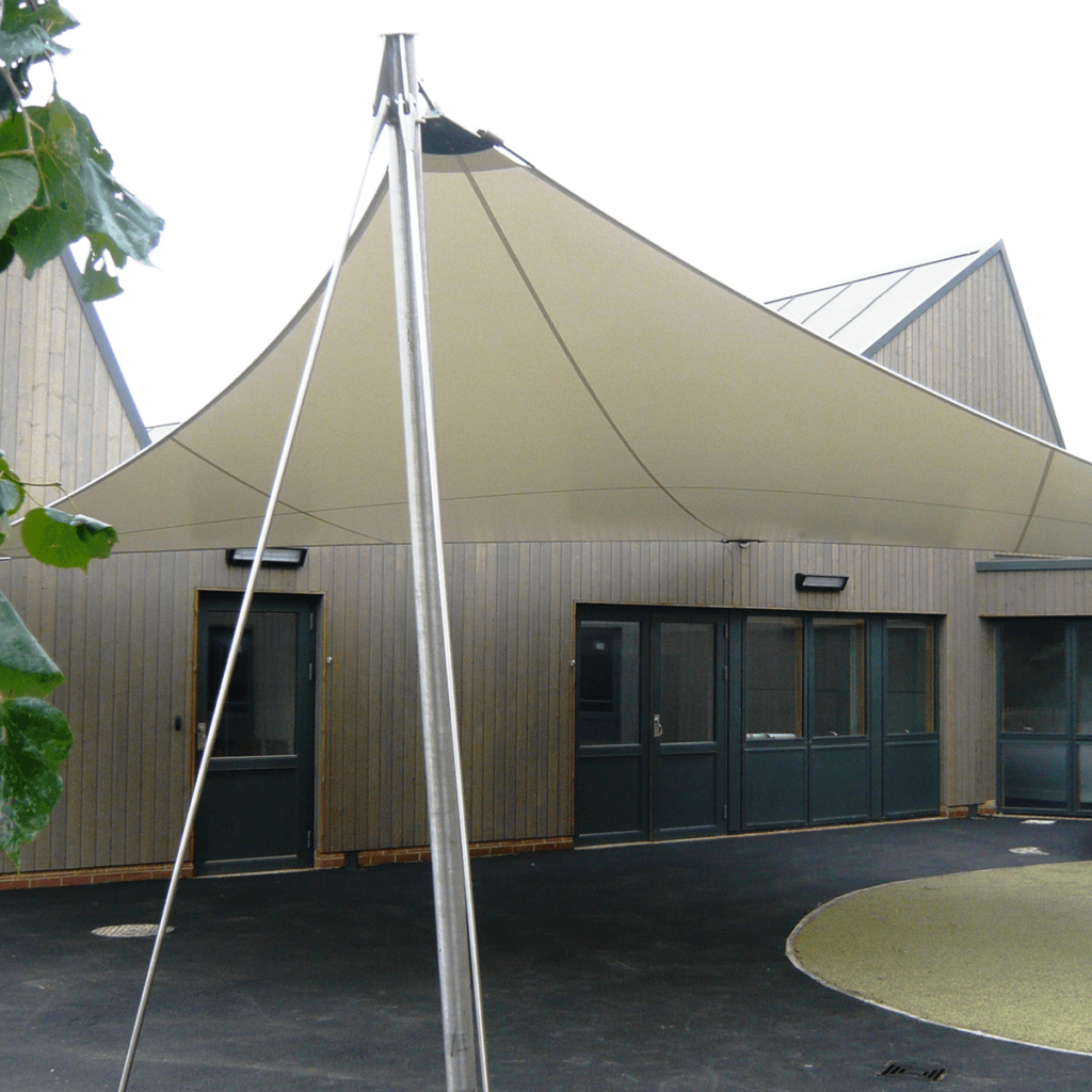 Victory Tensile Fabric Hypar Wall Mounted Canopy